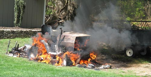 Riding Lawn Mower Fire