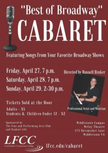 """Best of Broadway"" Cabaret @ LFCC Middletown Campus"