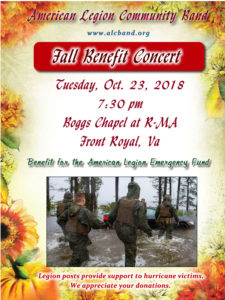 Fall Benefit Concert by the American Legion Community Band @ Boggs Chapel at R-MA