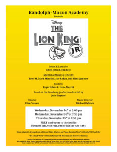 Disney's The Lion King JR. @ RMA Melton Memorial Gymnasium
