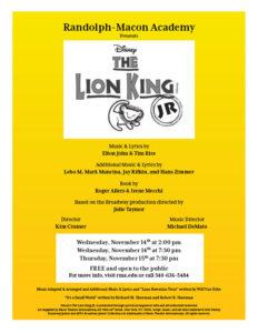 Disney's The Lion King JR. @ RMA Melton Memorial Gymnasium