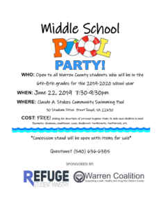 Middle School Pool Party @ Claude A. Stokes Community Swimming Pool